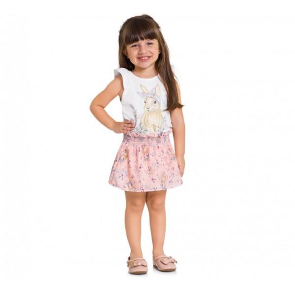 Conj. Infantil Blusa e Saia Coelho Rosa Antigo Menina Mundi 1 Ano