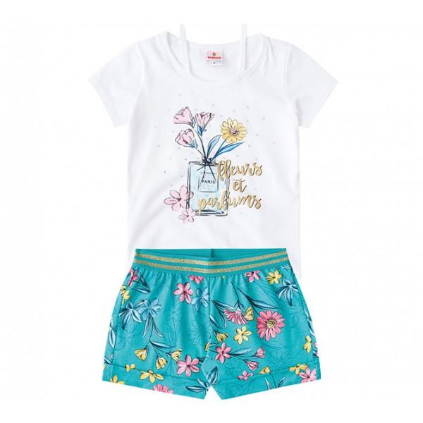 Conj. Infantil Shorts Floral Brandili Menina 8 Anos