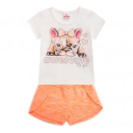 Conj. Infantil Verão Blusa Manga Curta Cachorro Bulldog Francês Shorts Malha Neon Brandili Menina 1-8 Anos