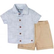 Conj. Infantil Camisa Social Azul e Bermuda de Sarja Bege Menino Brandili 1 Ano