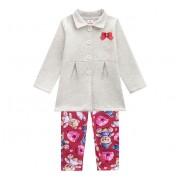 Conj. Infantil Casaco Cinza com Legging Ursinho Brandili Menina 1-3 Anos