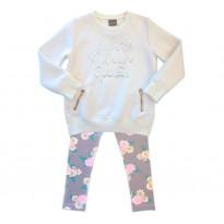 Conj. Infantil Blusão Matelassado Off-White Bordado Lantejoulas e Legging Floral Cinza e Rosa Mundi Menina 4-6 Anos