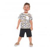 Conj. Infantil Verão Camiseta Listrada Folhas Surfista Bermuda Moletinho Cinza Menino Brandili 1-3 Anos