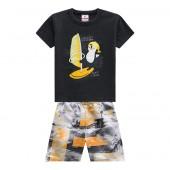 Conj. Infantil Verão Camiseta Cinza Pinguim Surfista Bermuda Microfibra Estampada Praia Menino Brandili 1-3 Anos