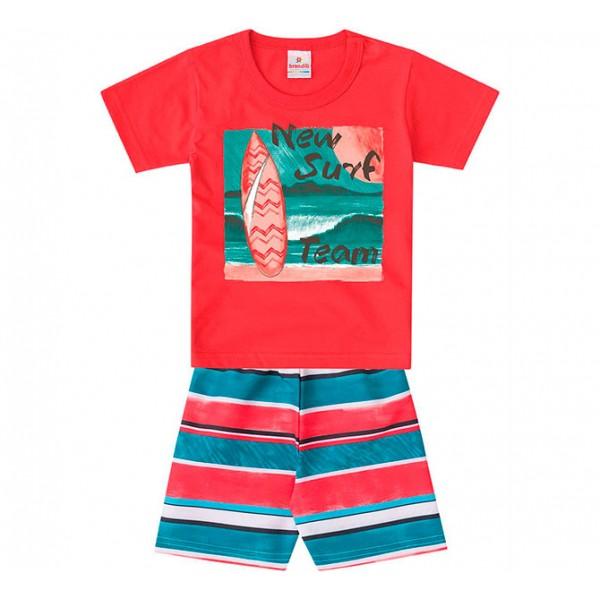 Conj. Infantil Camiseta Manga Curta e Bermuda Surfista Listrada Menino Brandili 2 Anos