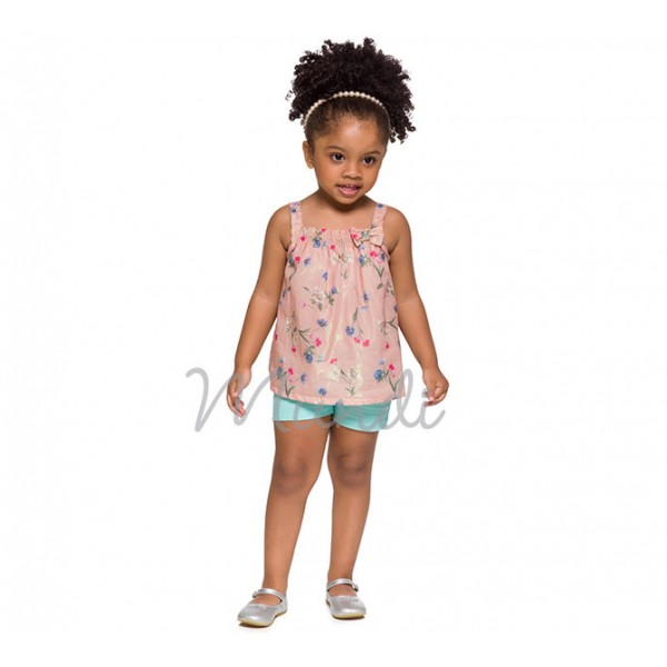 Conj. Infantil Bata Floral e Bermuda de Sarja Verde Menina Mundi 1 Ano