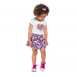 Conj. Infantil Blusa Coração e Saia com Shorts Bolas Coloridas Confeti Brandili Menina 1-3 Anos