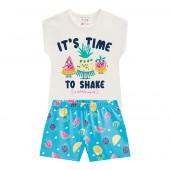Conj. Infantil Verão Blusa Manga Curta e Shorts Malha Frutinhas Brandili Menina 1-3 Anos