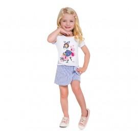 Conj. Infantil Brandili Verão Menina Blusa Manga Curta Shorts Saia Malha Anarruga Azul 1-8 Anos