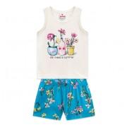 Conj. Infantil Verão Blusa Regata Vasinhos de Flor Shorts Malha Floral Brandili Menina 1-3 Anos