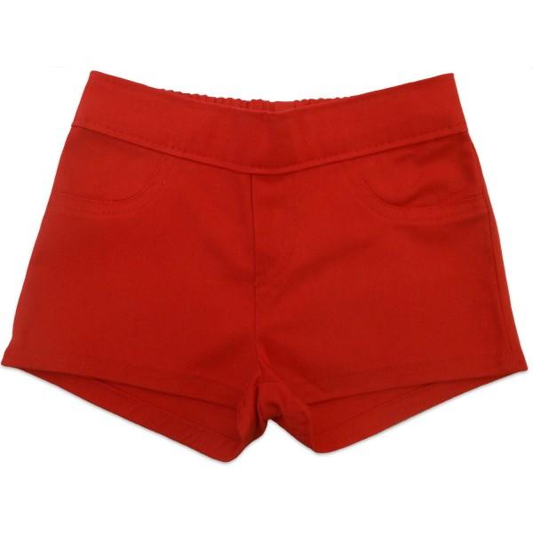 Conj. Infantil Brandili Verão Menina Blusa Ursinho Marinheiro com Strass Shorts Sarja Vermelho 1-8 Anos