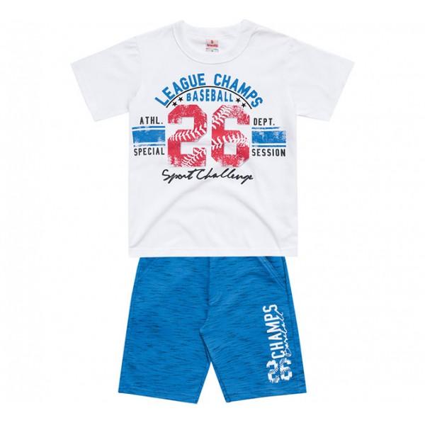 Conj. Infantil Camiseta Manga Curta e Bermuda Moletinho Baseball Menino Brandili 8 Anos