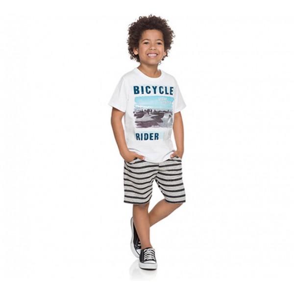 Conj. Infantil Camiseta Manga Curta Branca Bicicleta e Bermuda Moletinho Azul Menino Brandili 6/8 Anos