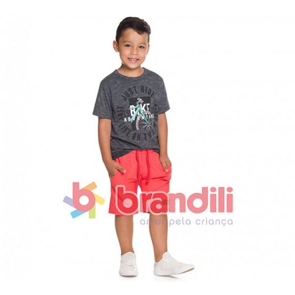 Conj. Infantil Camiseta Manga Curta Cinza Bicicleta e Bermuda Sarja Verde Menino Brandili 8 Anos