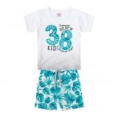 Conj. Infantil Camiseta Manga Curta e Bermuda Surfista Moletinho Estampa Folhas Menino Brandili 1 Ano