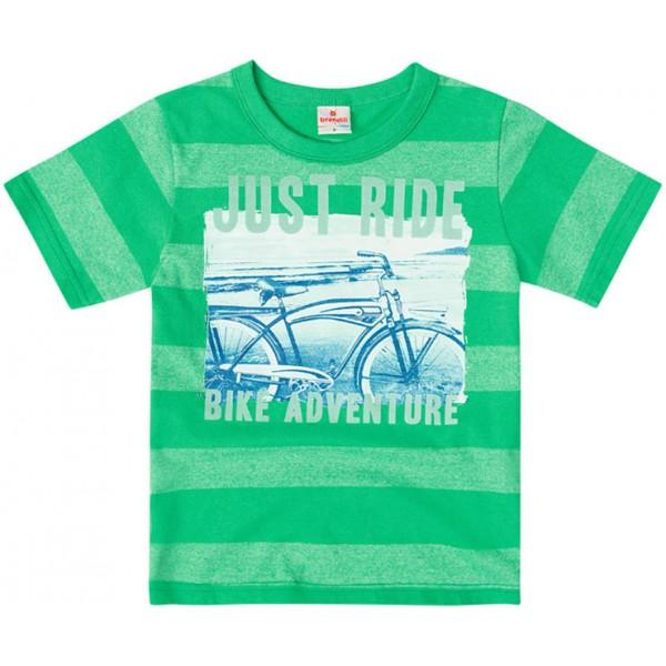 Conj. Infantil Camiseta Manga Curta Listrada Verde Bicicleta e Bermuda Sarja Azul Marinho Menino Brandili 4-8