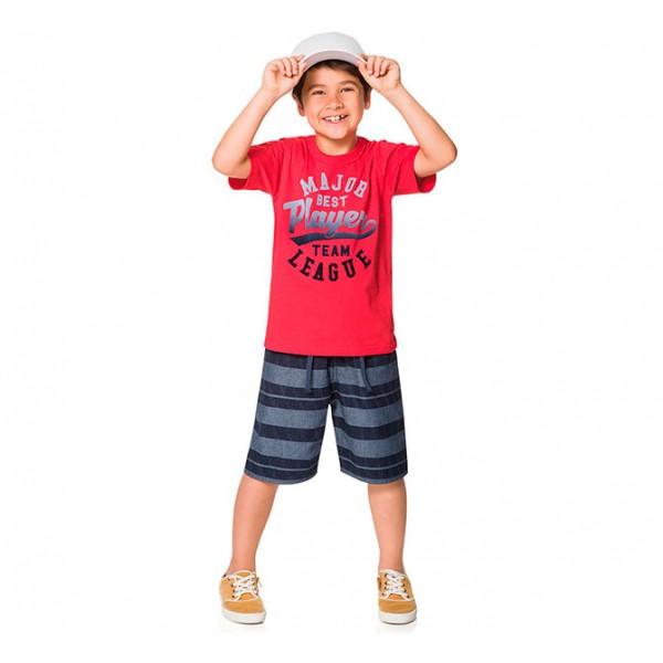 Conj. Infantil Camiseta Manga Curta Vermelha e Bermuda Listrada Menino Brandili 4 Anos