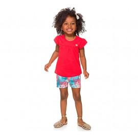 Conj. Infantil Bata Branca e Bermuda Tecido Lilás e Verde Menina Brandili 1 Ano