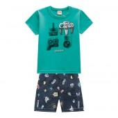 Conj. Infantil Camiseta Manga Curta Verde e Bermuda Microfibra Estampada Cinza Video Games Menino Brandili 1-3/4-8 Anos