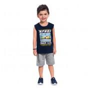 Conj. Infantil Brandili Camiseta Regata Azul Carro de Corrida e Bermuda Moletinho Cinza 1-3/4-10 Anos