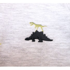 Conj. Infantil Brandili Gola Polo Cinza Dinossauro e Bermuda de Sarja Azul Marinho Cintura Regulável