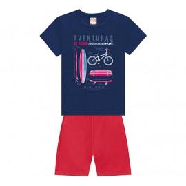 Conj. Infantil Brandili Camiseta Azul Marinho Bicicleta e Bermuda Moletinho Vermelho 1-3 Anos