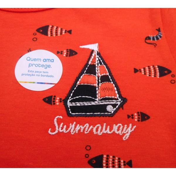 Conj. Infantil Brandili Marinheiro Camiseta Vermelha e Bermuda Moletinho Marinho 1-3 Anos