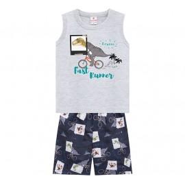 Conj. Infantil Brandili Camiseta Regata Cinza Dinossauro e Bermuda de Microfibra Estampada 1-3 Anos