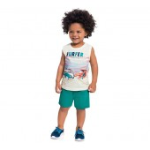 Conj. Infantil Brandili Camiseta Regata Kombi Praia e Bermuda Moletinho Verde 1-3 Anos