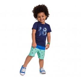 Conj. Infantil Camiseta Manga Curta Azul Marinho e Bermuda Surfista Microfibra Praia Menino Brandili 1 e 2 Anos