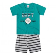 Conj. Infantil Camiseta Manga Curta Verde Baseball e Bermuda Moletinho Listrada Cinza Menino Brandili 2 Anos