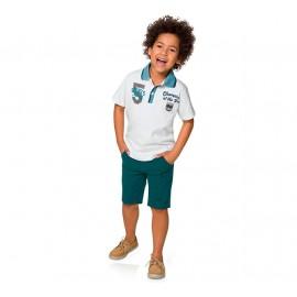 Conj. Infantil Gola Polo Branca e Bermuda de Sarja Azul Petróleo Menino Brandili 4-8 Anos