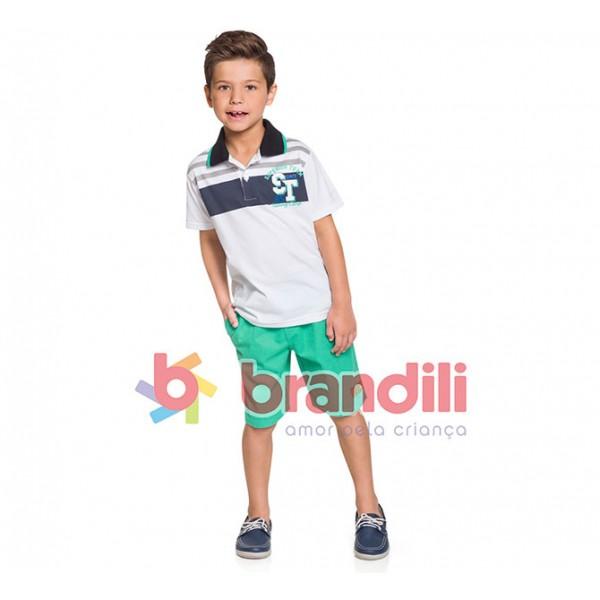 Conj. Infantil Gola Polo Branca e Bermuda Sarja Verde Menino Brandili 6/8 Anos