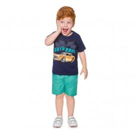 Conj. Infantil Camiseta Manga Curta Azul Marinho Carro e Bermuda Microfibra Verde Menino Brandili 2 Anos