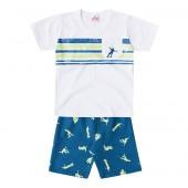 Conj. Infantil Camiseta Manga Curta e Bermuda Moletinho Estampa Skatista Menino Brandili 3 Anos