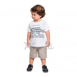 Conj. Infantil Camiseta Branca Frases e Bermuda Sarja Bege Menino Mundi 1 Ano