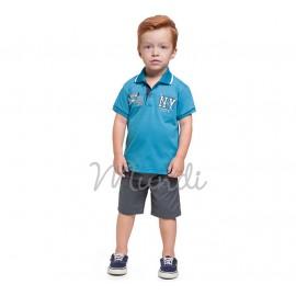 Conj. Infantil Gola Polo Azul e Bermuda de Sarja Alfaiataria com Cinto Menino Mundi 1 Ano