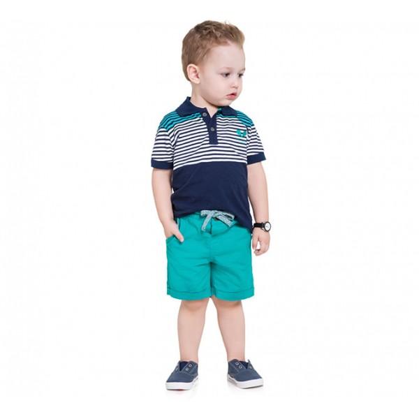 Conj. Infantil Gola Polo Listrada Azul Marinho e Verde e Bermuda de Sarja Menino Mundi 1 Ano