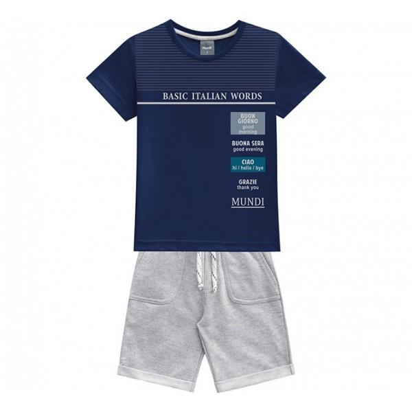 Conj. Infantil Camiseta Manga Curta Azul Marinho Italian Words e Bermuda Moletinho Cinza Menino Mundi 1 e 2 Anos