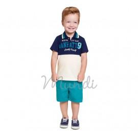 Conj. Infantil Gola Polo Azul Marinho e Cru Bermuda de Sarja Verde Menino Mundi 2 Anos