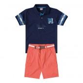 Conj. Infantil Gola Polo Azul Marinho e Bermuda de Sarja Laranja com Cinto Menino Mundi 4-8 Anos
