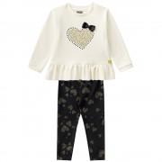 Conj. Infantil Blusão e Legging Preta Coração Mundi Menina