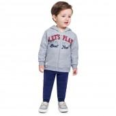 Conj. Moletom Flanelado Infantil Aberto com Capuz Brandili Menino 2/3 Anos