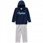 Conj. Infantil Blusão Soft Marinho com Capuz Menino Brandili 2 Anos