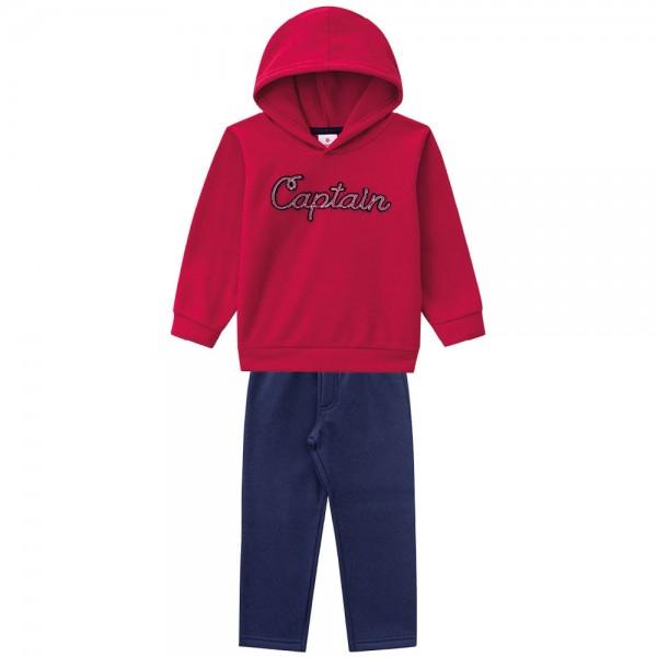 Conj. Infantil Blusão Soft Vermelho com Capuz Menino Brandili 2 Anos