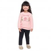 Conj. Infantil Inverno Blusão Cupcakes Brandili Menina Rosa e Preto 1 Ano
