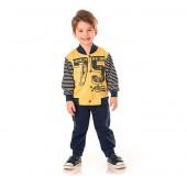 Conj. Infantil Agasalho Esportivo Jogador Moletom Flanelado Azul Marinho e Amarelo Serelepe Kids Menino 3 Anos