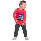 Conj. Moletom Infantil Brandili Vermelho Menino Caminhão 3 Anos