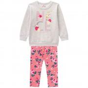Conj. Infantil Blusão Bambi e Legging Floral Brandili Menina