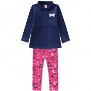 Conj. Casaco Marinho e Legging Floral Infantil Brandili Menina 6 e 8 Anos